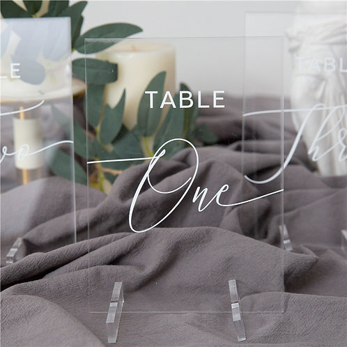 Minimalist Simple Acrylic Table Numbers with Stand