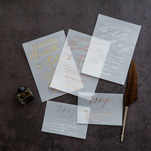 Vellum Foil Printed Invitation Set