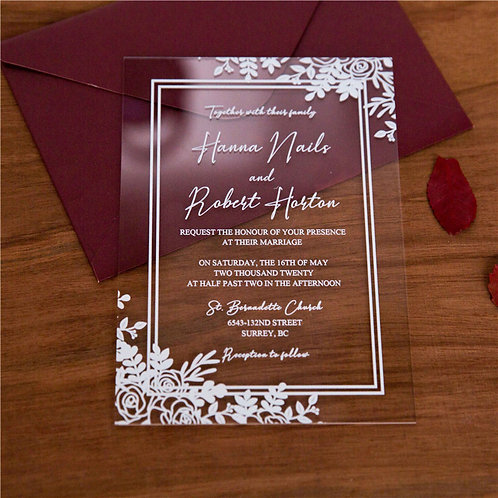 Leaf Design Clear Acrylic Invitation