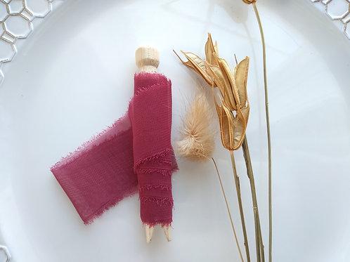 Burgundy Hand Torn Chiffon Ribbon