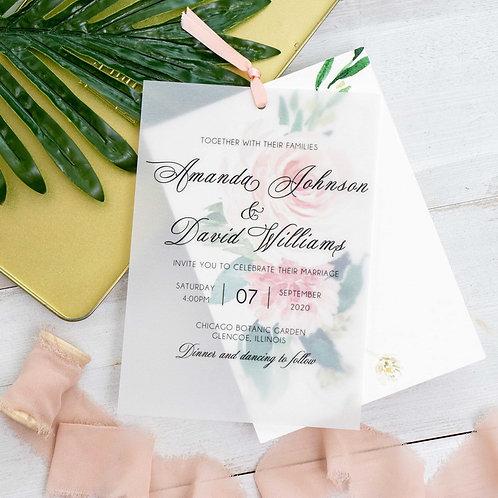 Vellum Overlay Floral Invitation Set