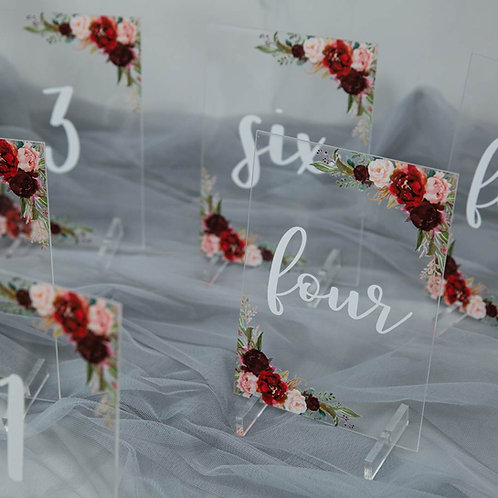 Burgundy and Blush Acrylic Table Numbers with Stand