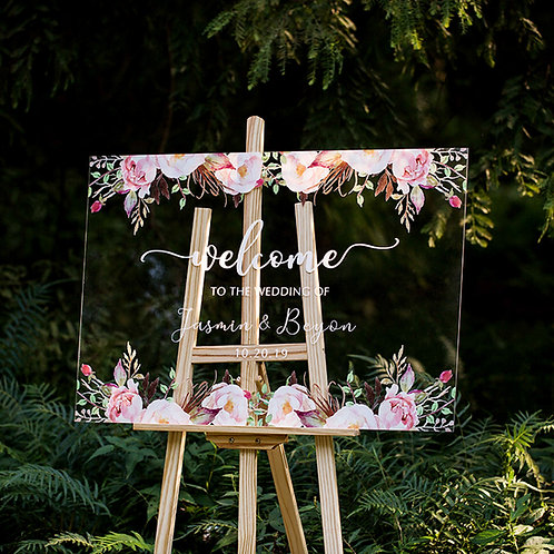 Blush Flowers Acrylic Welcome Sign