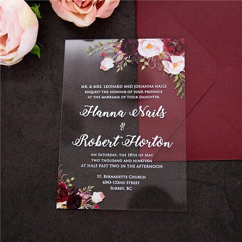 Marsala Acrylic Invitation