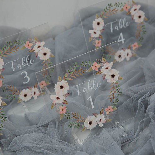 Boho Acrylic Table Numbers with Stand