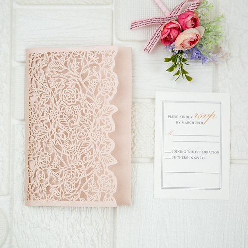 Roses Laser Cut Pocket Invitation Set