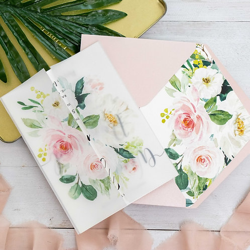 Vellum Blush Floral Invitation Set