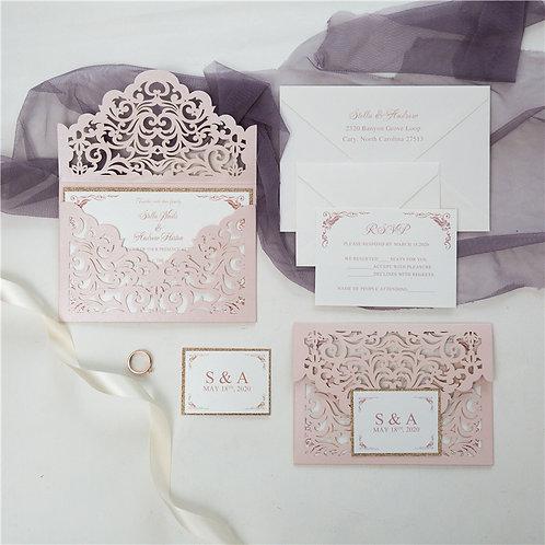Blush Laser Envelope Invitation Set