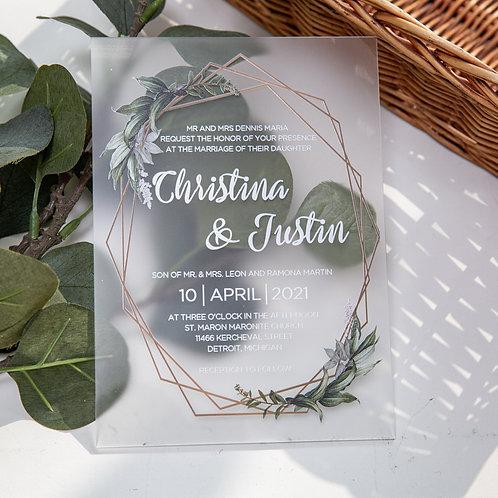 Acrylic Greenery Invitation
