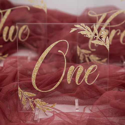 Gold Leaf Glitter Acrylic Table Numbers with Stand