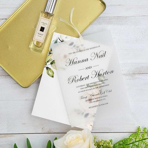 Ivory Floral Vellum Overlay Invitation Set