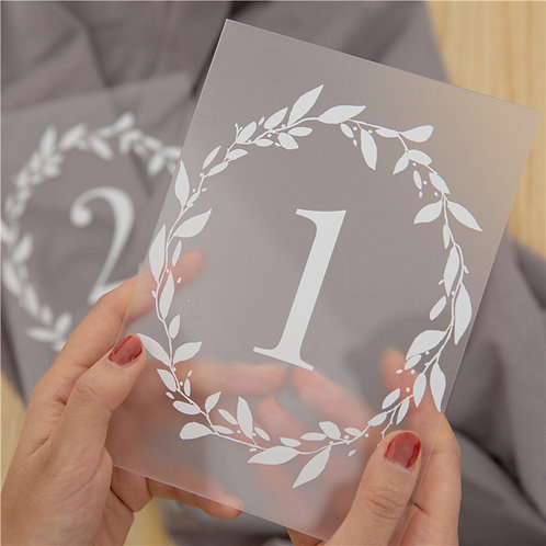 Frosted Acrylic Table Numbers with Stand