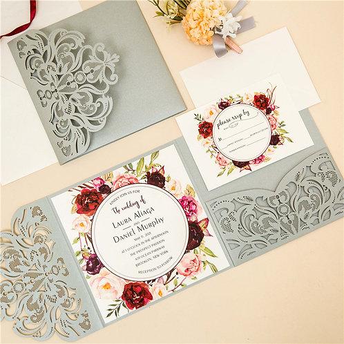 Silver Laser Cut Pocket Invitation Set