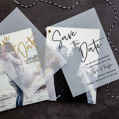 Photo Save the Date with Vellum Overlay