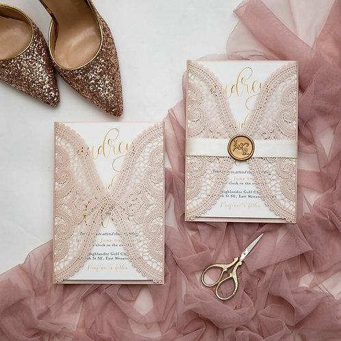 Blush Pink Chantilly Lace Laser Cut Invitation Set