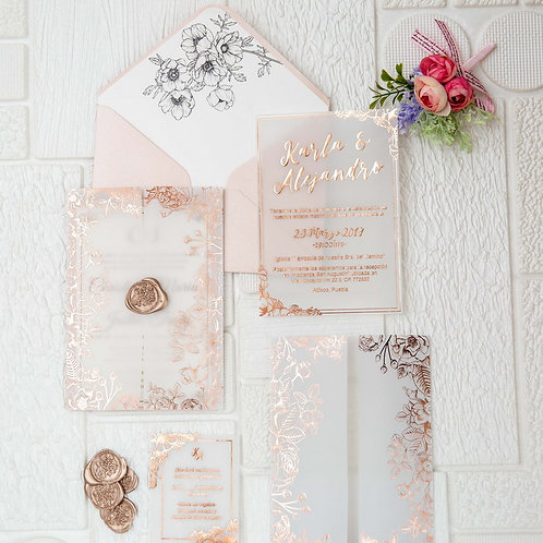 Floral Foil Vellum Invitation Set
