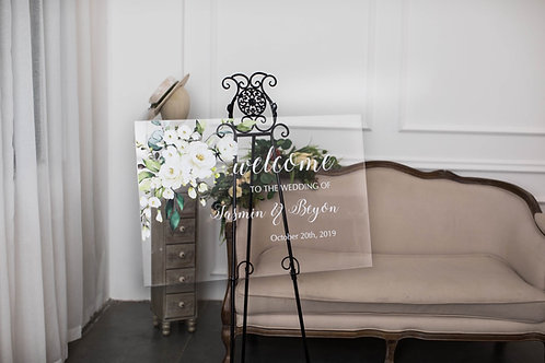 Greenery and Roses Acrylic Welcome Sign