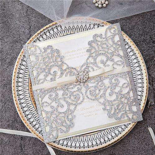 Silver Glitter & Champagne Laser Cut Invitation Set