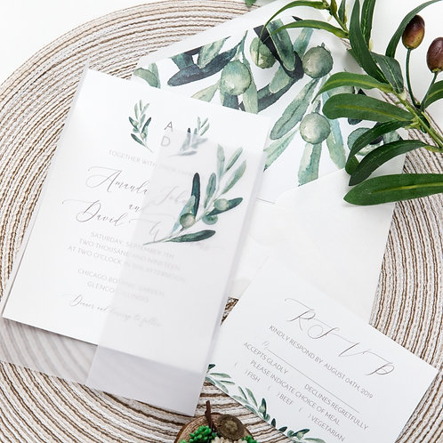 Olive Leaf Vellum Invitation Set