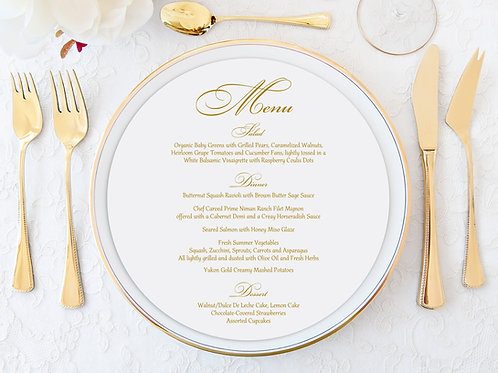 Gold Print Charger Plate Menu Card