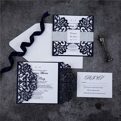 Navy and Silver Laser Cut Invitation Set