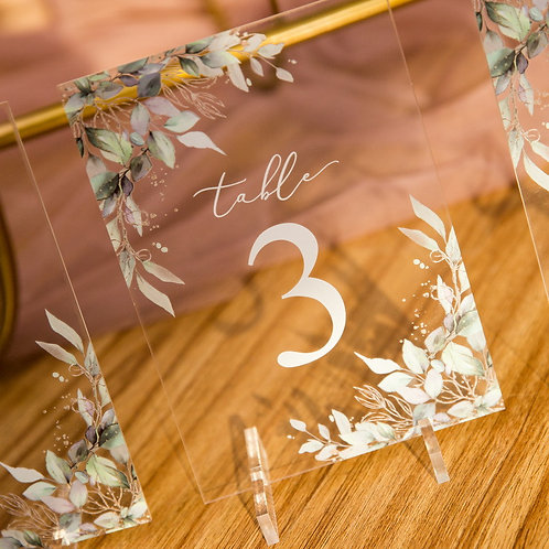 Leaf Glitter Accent Acrylic Table Numbers with Stand