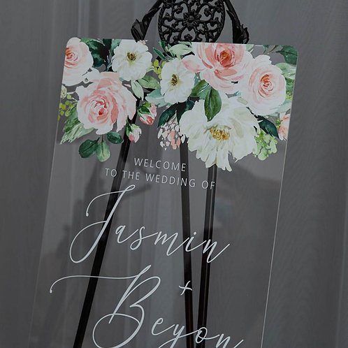 Blush and Greenery Acrylic Welcome Sign