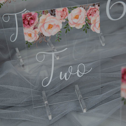 Blush Pink Acrylic Table Numbers with Stand