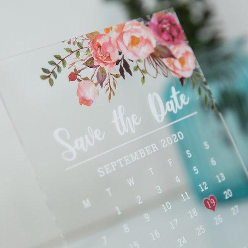 Blush Save the Date Acrylic Card