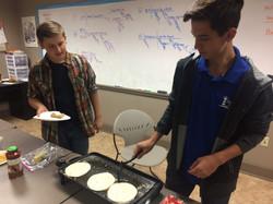cooking pancakes