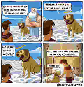 Funny pictures cartoon god and dog talking with owner