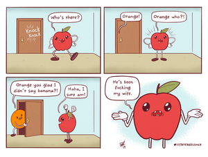 Funny pictures cartoon orange visiting apple and banana fucks apples wife