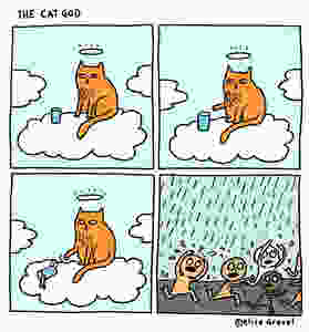 Funny pictures if god was a cat cartoon