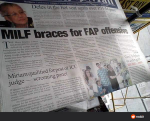 Funny pictures newspaper article about MILF bracing for FAP offensive