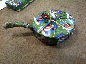 Funny pictures dish towels wrapped up look like cast iron skillet