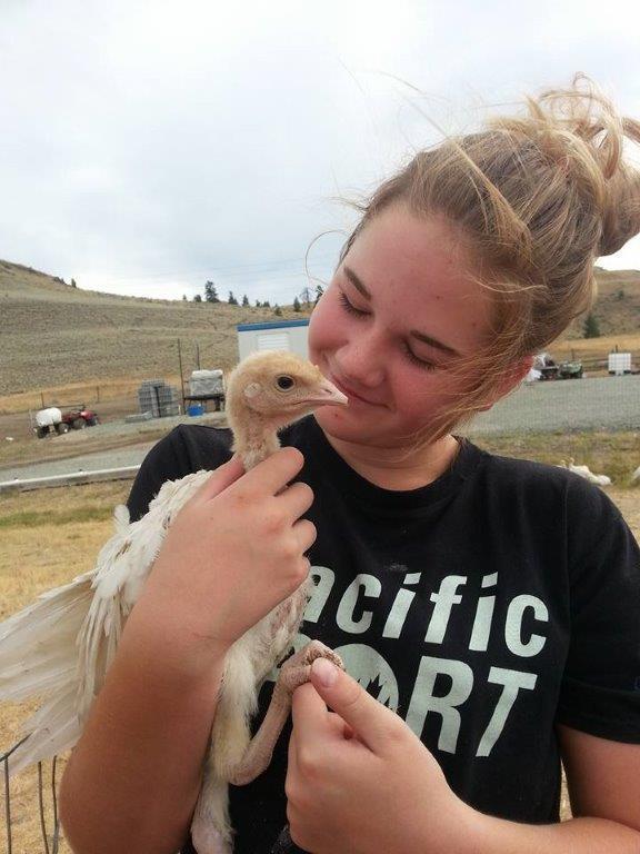 Jensen and her turkey Neville last summer.