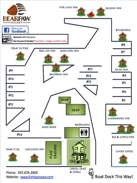 Panguitch Lake Map, Bear Paw Resort Map, Cabin Rentals, RV Park