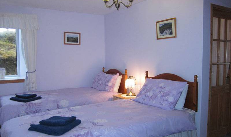 The twin bedroom is on the ground floor, and features an ensuite shower room