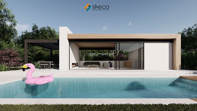 Pool House Concept by SKECO. Free pink f