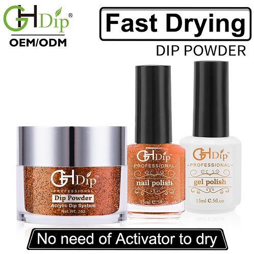 Gold Glitter Nail Perfect Color Match 3-in-1,Dip Powder match Gel Polish