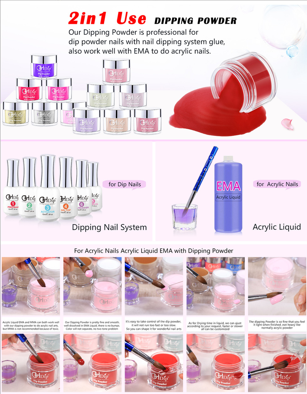 2in1 use Dipping Powder for dip nails and acrylic nails
