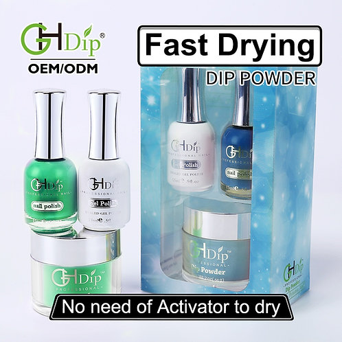 Green Color Match 3-in-1 Dip Powder match Gel Polish and Nail Lacquer