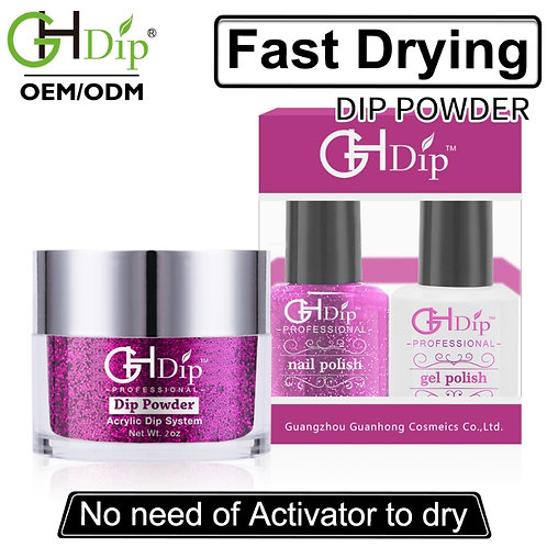 Purple Color Glitter Nail Dip Powder Perfect Match Gel Polish and Nail Lacquer