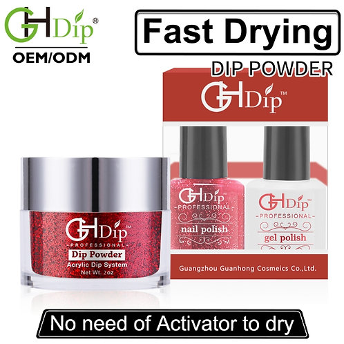 Glitter Nail Perfect Color Match 3-in-1, Red Color Dip Powder match Gel Polish