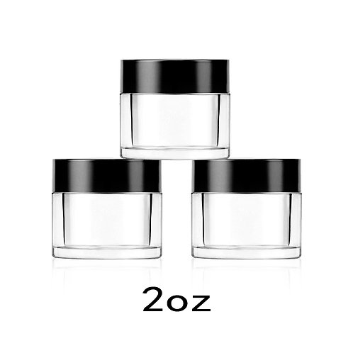 2OZ Dip Powder Jar Container with Black Caps and Lids