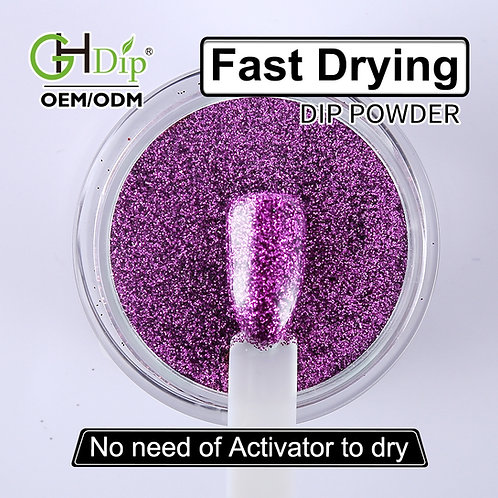 G538 Purle Glitter Nail Fast Drying Dip Powder