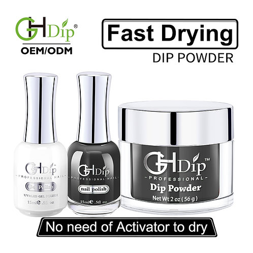 Black Color Match 3-in-1 Dip Powder match Gel Polish and Nail Lacquer