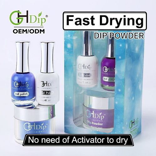 Blue Color Match 3-in-1 Dip Powder match Gel Polish and Nail Lacquer