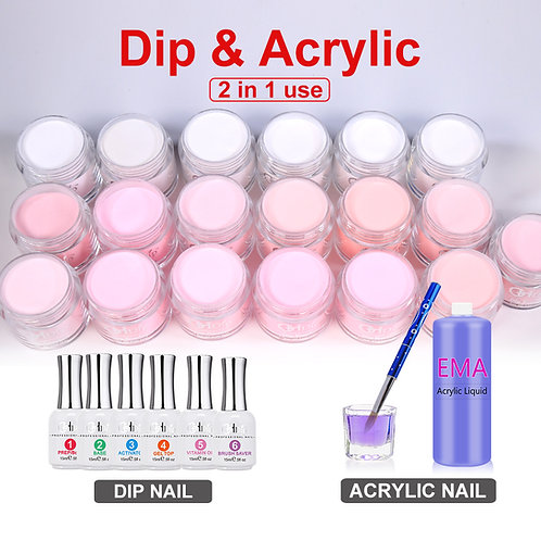 Pink Color 2in1 use Dipping Power for Acrylic nails and Dip nails