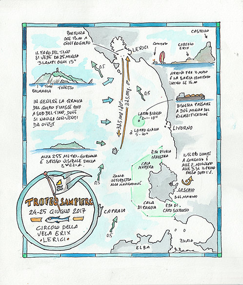 Mappa del Trofeo Sampiero - Regata della Gorgona
